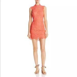 NWT- Free People Coral Lace Mini Dress